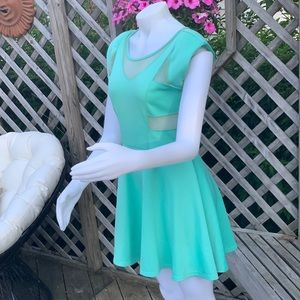 The Vintage Shop Dresses - Tiffany blue dress with sheer cutouts